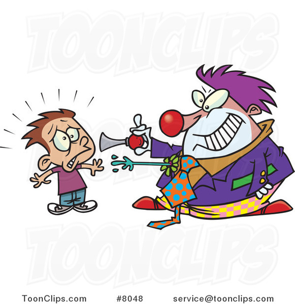 Cartoon Clown Scaring a Boy