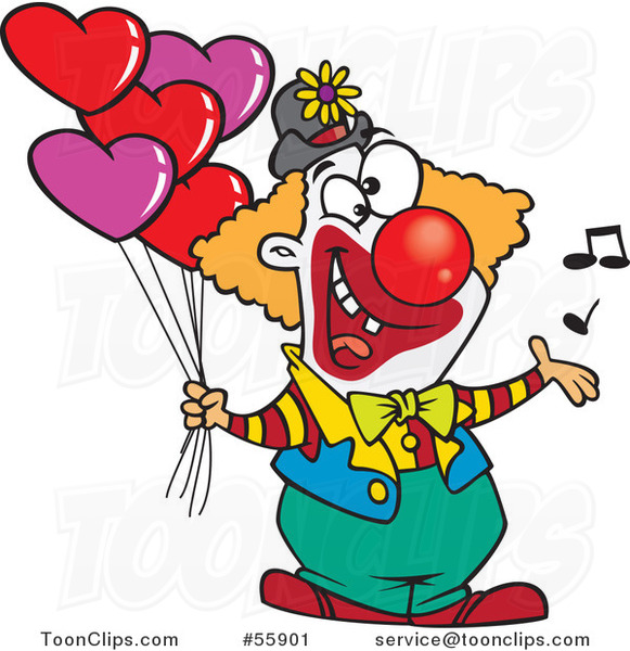 Cartoon Clown Singing and Holding Valentines Day Balloons