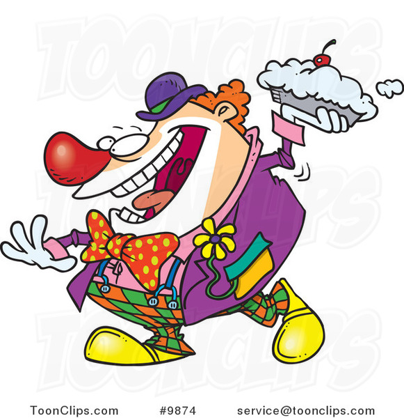 Cartoon Clown Throwing a Pie
