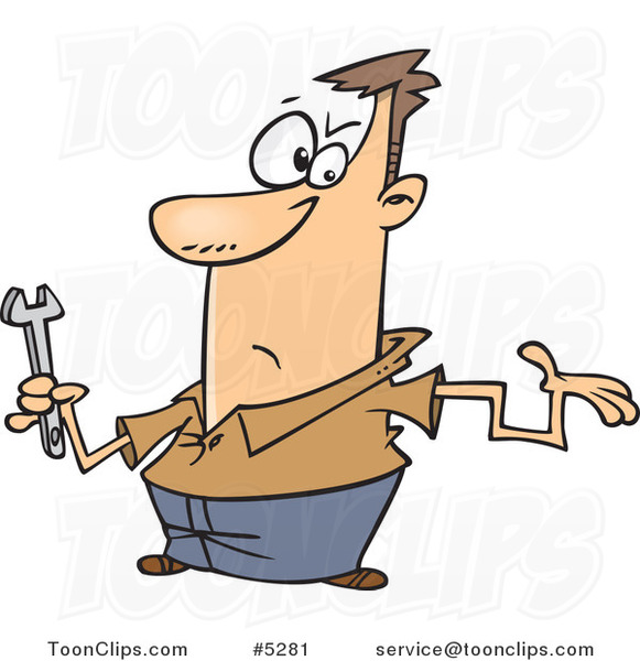 Cartoon Clueless Repair Guy with a Crooked Arm