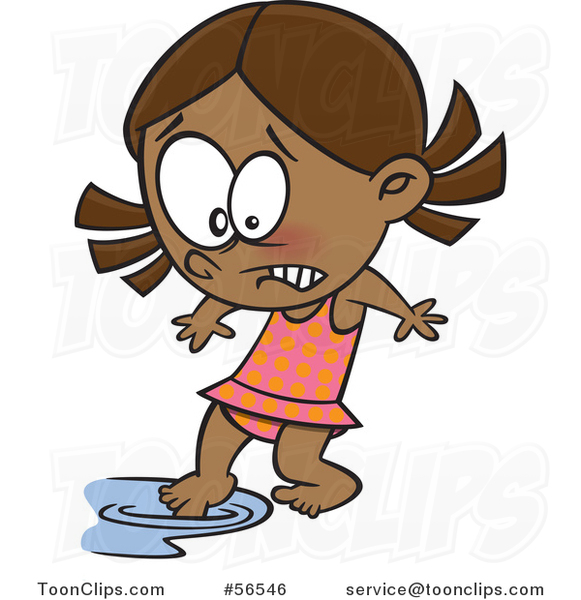 Cartoon Cold Black Swimmer Girl Testing the Water with a Toe