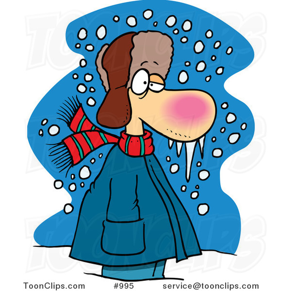 Cartoon Cold Winter Guy Standing in the Snow with Frozen Snot