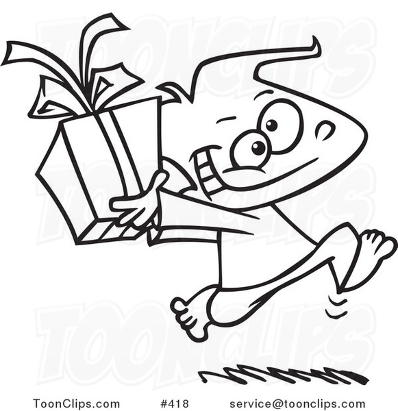 Cartoon Coloring Page Line Art Of A Black Boy Running With Gift Box 418 By Ron Leishman