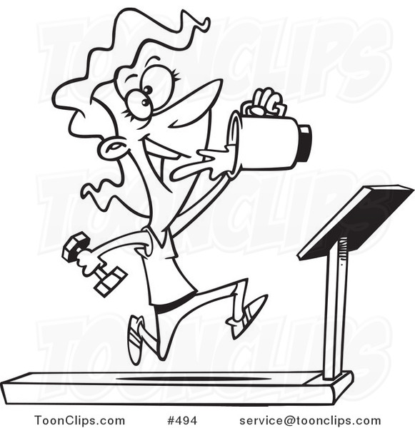 Cartoon Coloring Page Line Art of a Fit Lady Running on a ...