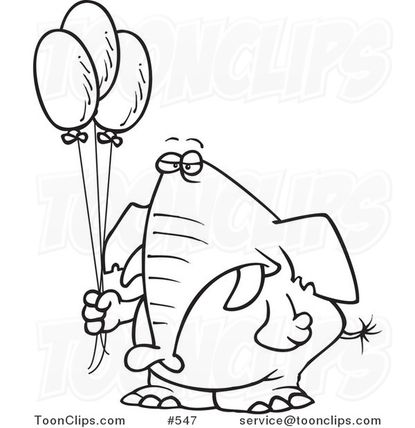 Cartoon Coloring Page Line Art Of A Grumpy Elephant Holding Balloons 547 By Ron Leishman