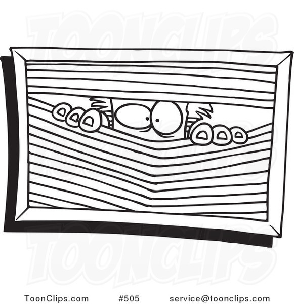 Cartoon Coloring Page Line Art Of A Paranoid Guy Peeking