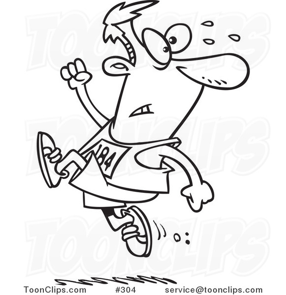 Cartoon Coloring Page Line Art Of A Runner Guy Ahead The Crowd 304 By Ron Leishman
