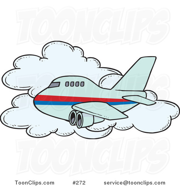 Cartoon Commercial Airliner Passing a Cloud in Flight