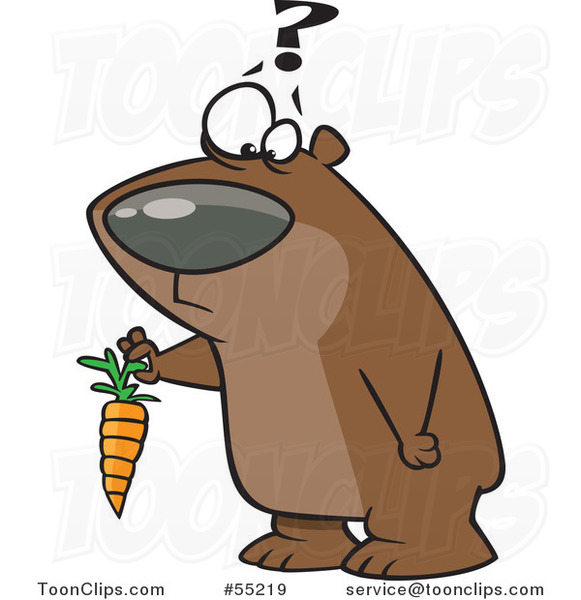 Cartoon Confused Bear Holding a Carrot