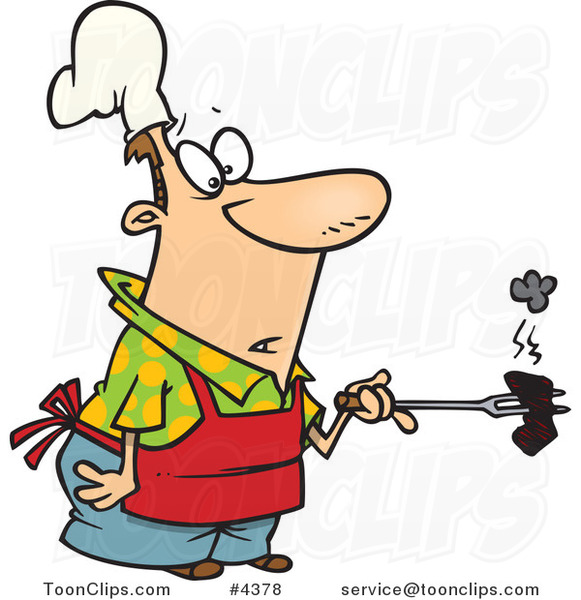 Cartoon Cook Holding a Burnt Piece of Meat