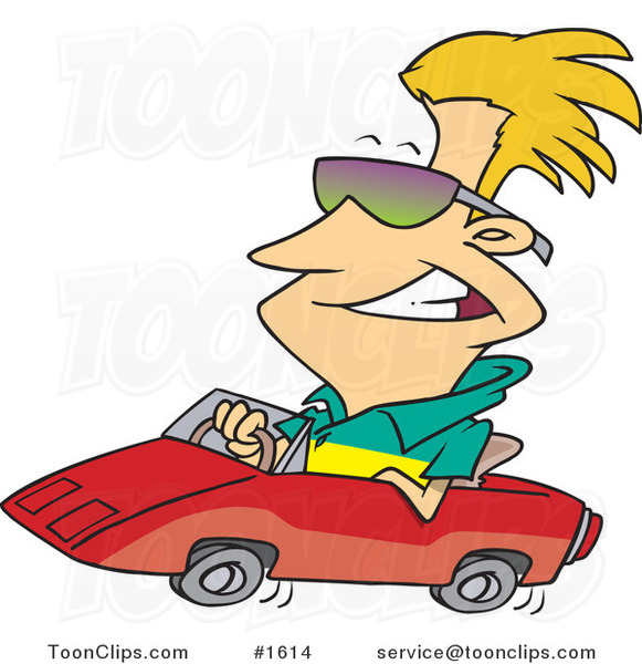 Cartoon Cool Blond Guy Wearing Shades and Driving a Convertible