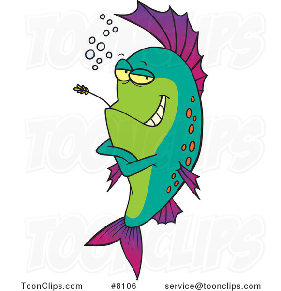 Cartoon Cool Fish Chewing on Straw