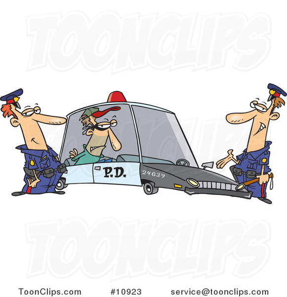 Cartoon Cops with a Robber in a Squad Car