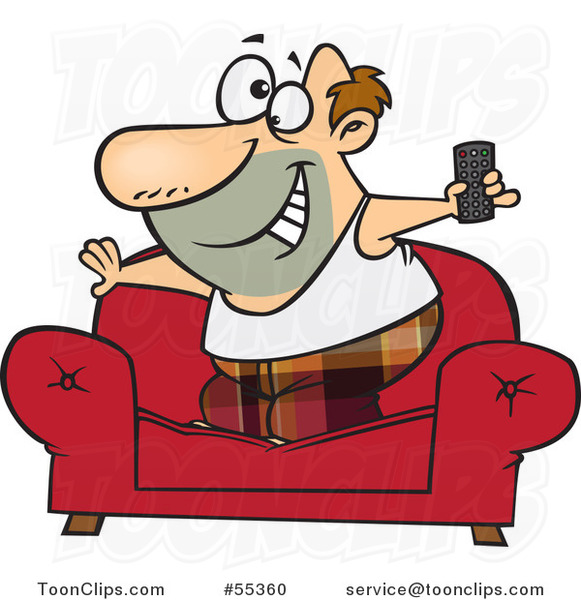 Cartoon Couch Surfer Guy Standing on His Sofa with a TV Remote Control
