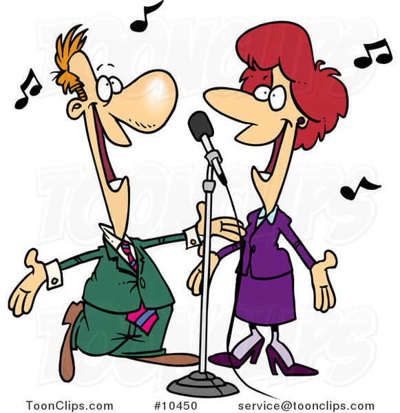 Cartoon Couple Singing