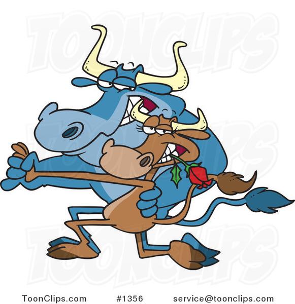 Cartoon Cow Couple Dancing The Tango 1356 By Ron Leishman