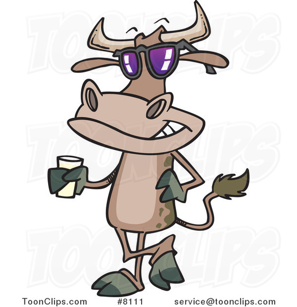 Cartoon Cow Standing with a Glass of Milk