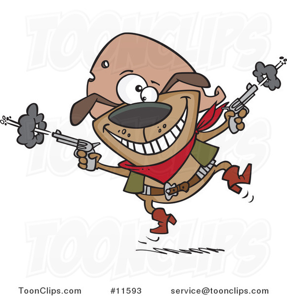 Cartoon Cowboy Dog Shooting #11593 By Ron Leishman