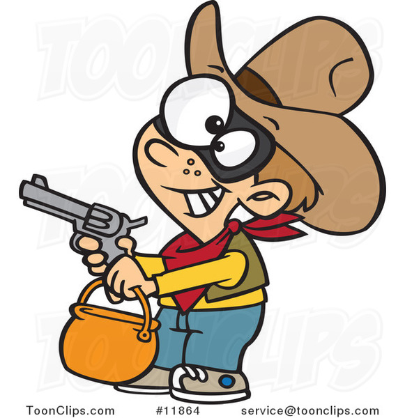 Cartoon Cowboy Halloween Trick or Treater Holding His Gun out