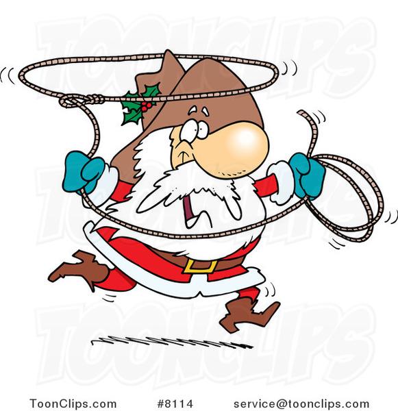 Cartoon Cowboy Santa Swinging A Lasso 8114 By Ron Leishman