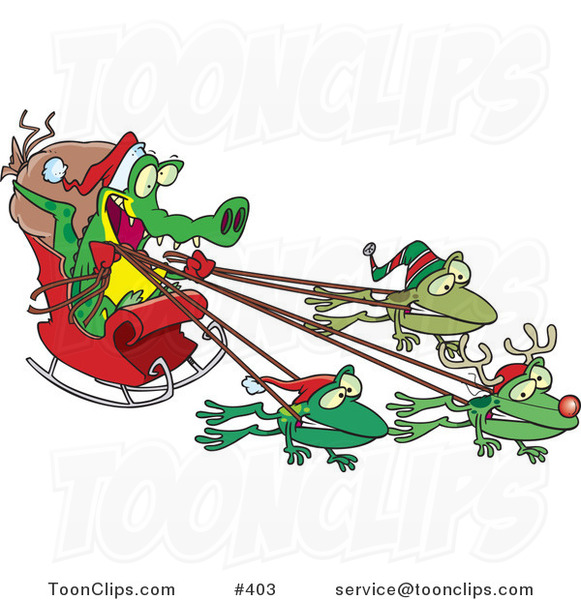 Cartoon Crocodile Santa with Frog Reindeer