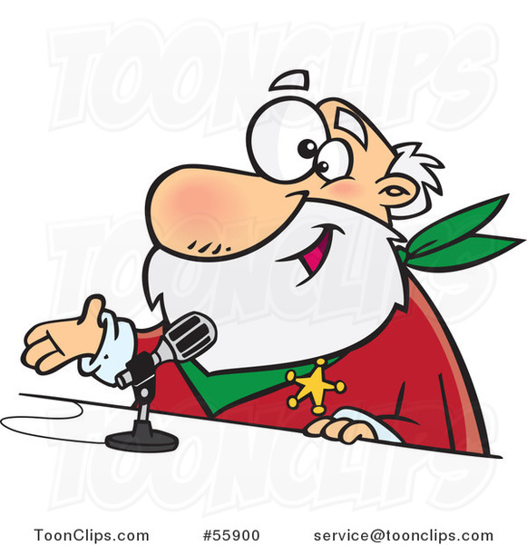 Cartoon CRS Santa Speaking into a Microphone