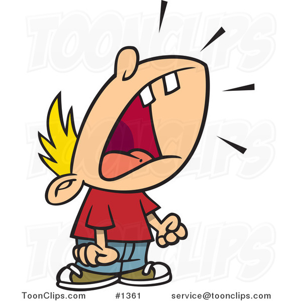 Cartoon Crying Boy Throwing a Temper Tantrum #1361 by Ron ...