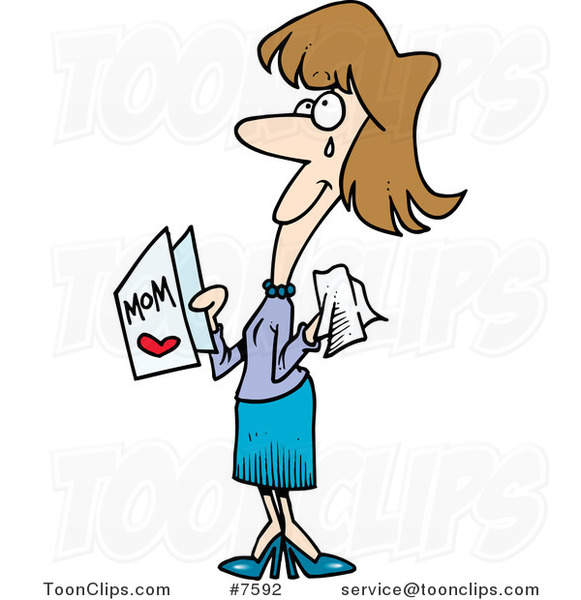 Cartoon Crying Mom Holding a Mothers Day Card