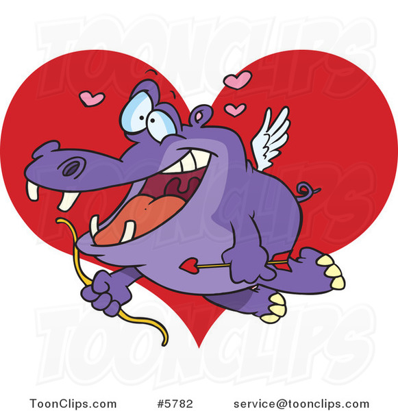 Cartoon Cupid Hippo over a Heart