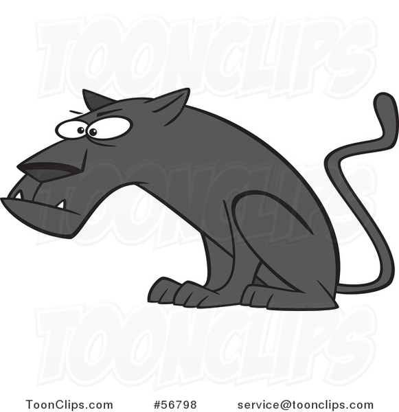 Cartoon Curious Black Panther Big Cat Sitting