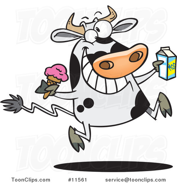 Cartoon Dairy Cow with Ice Cream and Milk