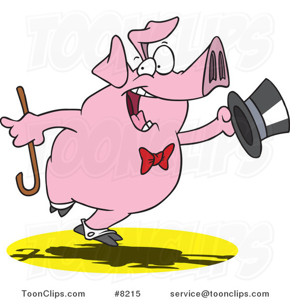 Cartoon Dancing Pig Performing