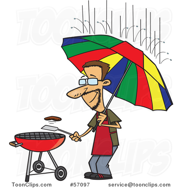 Cartoon Dedicated White Guy Holding an Umbrella Nd Flipping a Burger on a Bbq Grill in the Rain