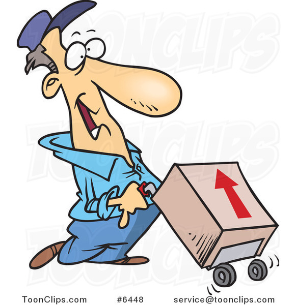Cartoon Delivery Guy with a Package on a Dolly