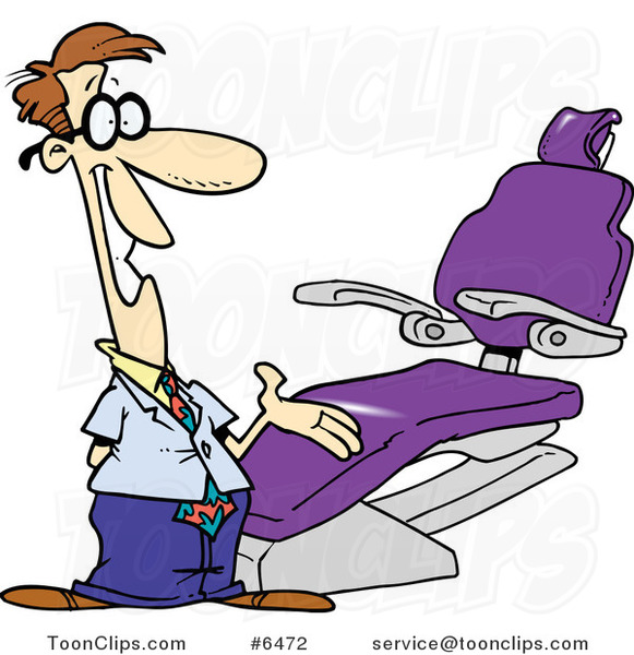 Cartoon Dentist Gesturing to a Chair