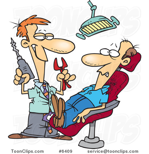 Cartoon Dentist Holding Pliers and a Drill over a Patient ...