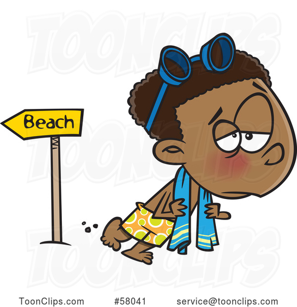 Cartoon Depressed Boy Leaving the Beach After Summer Vacation