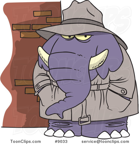 Cartoon Detective Elephant