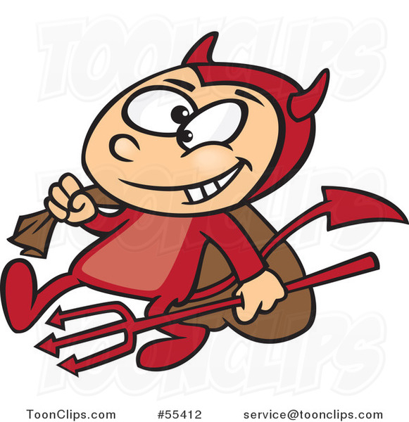 Cartoon Devil Boy Carrying a Sack and Pitchfork