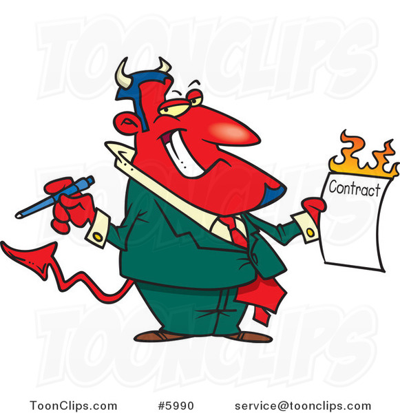 Cartoon Devil Holding a Hot Contract
