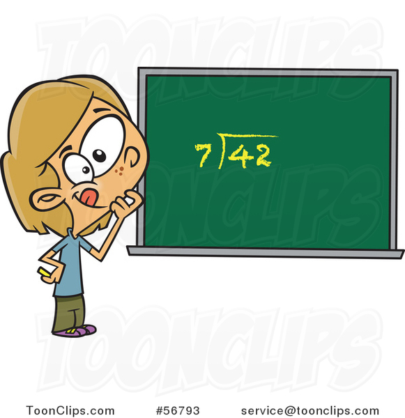 Cartoon Dirty Blond White School Girl Pondering over an Equation on a Chalk Board