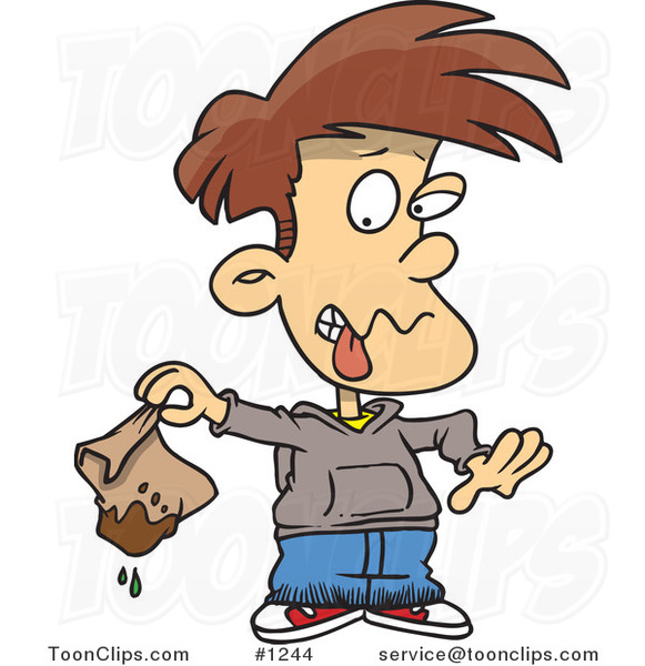 Cartoon Disgusted Boy Holding a Muddy Lunch Bag #1244 by ...  Cartoon Disgust...