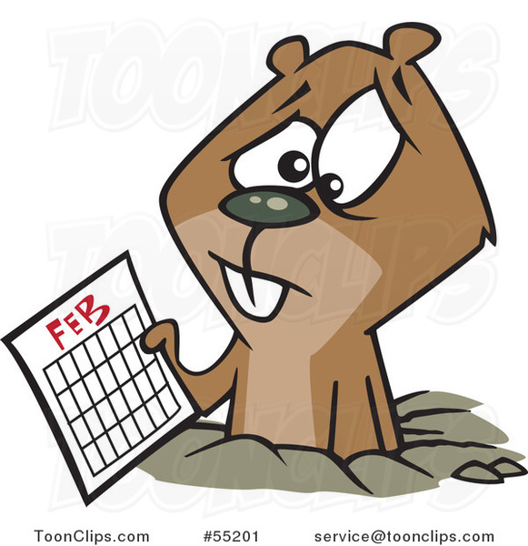 Cartoon Distressed Groundhog Holding a February Calendar