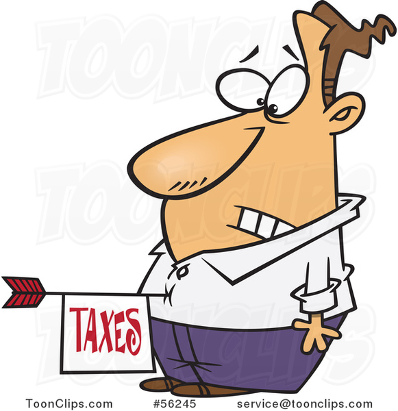 Cartoon Disturbed White Guy with a Taxes Arrow in His Belly
