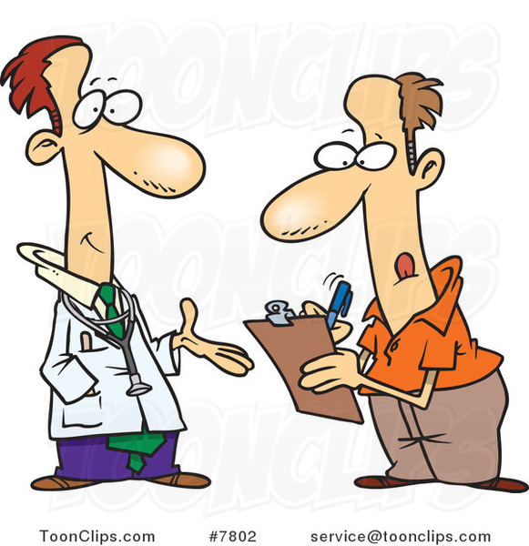 Cartoon Doctor Talking to a Patient Filling out Forms