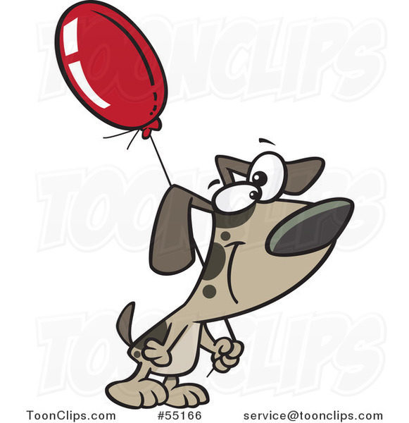 Cartoon Dog Carrying a Birthday Balloon