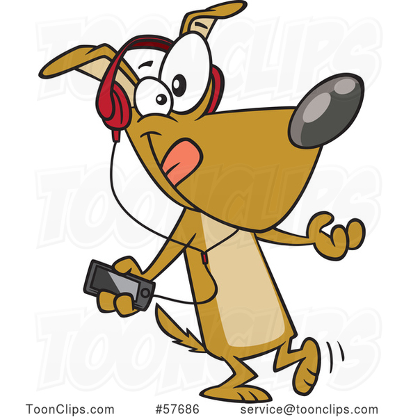 Cartoon Dog Dancing and Listening to Music with an MP3 Player