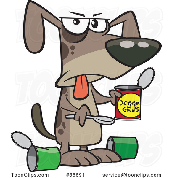 Cartoon Dog Eating a Gross Can of Wet Food