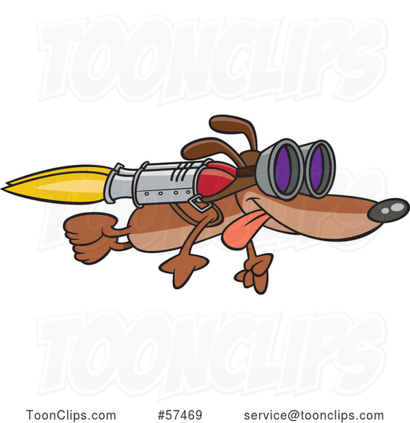 Cartoon Dog Flying with a Rocket on His Back