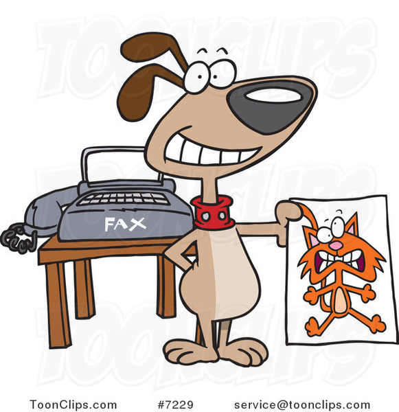 Cartoon Dog Holding a Fax of a Cat